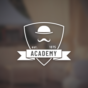 Academy – Mustache hat vintage logo vector free logo preview