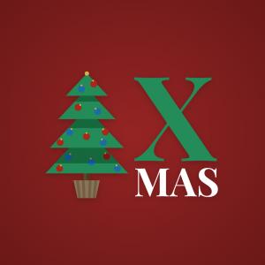 X Mas – Christmas tree flat logo vector free logo preview