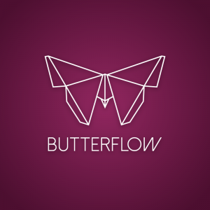 Butterflow – Geometric origami butterfly logo free logo preview