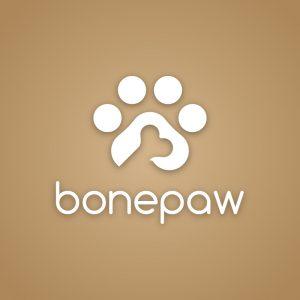 Bonepaw – Negative space animal paw food logo free logo preview