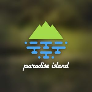Paradise island – Geometric mountain sea logo free logo preview