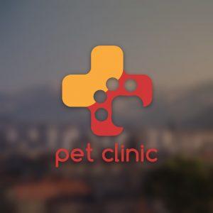 Pet clinic – Veterinarian paw hospital logo free logo preview