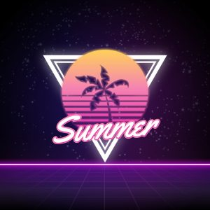 Summer – Free retro neon palm tree logo vector free logo preview