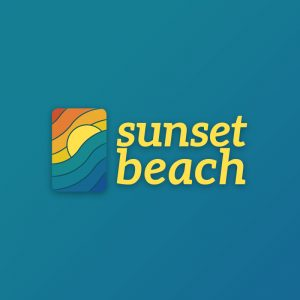 Sunset Beach – Decorative wave holiday logo free logo preview