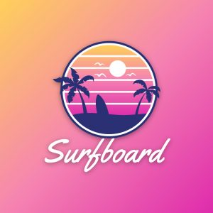Surfboard – Tropical sunset palm beach logo free logo preview