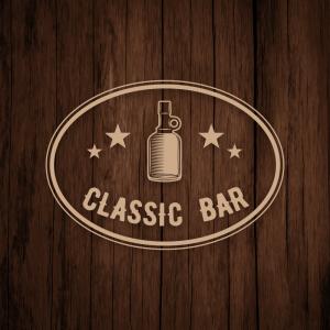 Classic Bar – Vintage alcohol glass bottle logo free logo preview