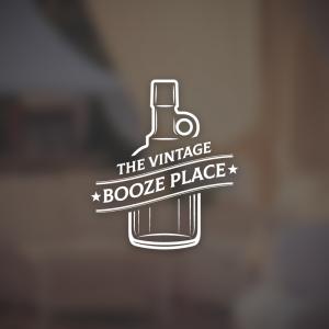The Vintage Booze Place – Glass bottle logo free logo preview