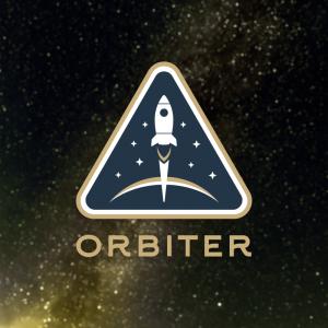Orbiter – Star ship planet orbit badge logo free logo preview