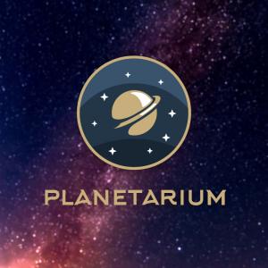 Planetarium – Round badge space planet logo free logo preview
