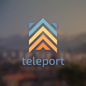 Teleport – Arrow up travel company free logo free logo preview