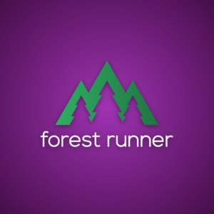 Forest runner – Negative space vector logo free logo preview