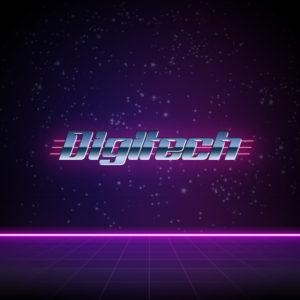 Digitech – Free retro neon sci fi logo download free logo preview