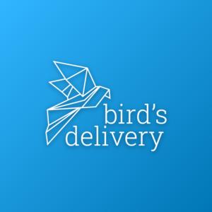 Bird's delivery – Geometric origami animal logo free logo preview